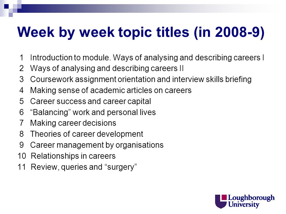Week by week topic titles (in 2008-9) 1 Introduction to module.