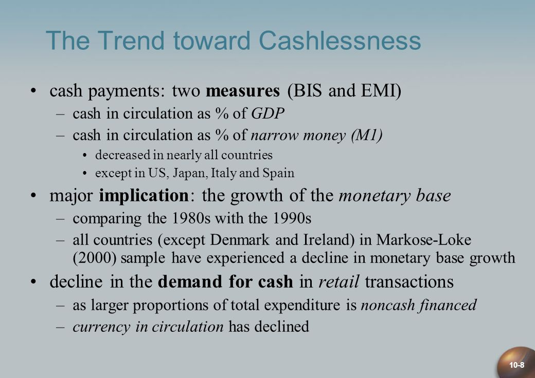 10-8 The Trend toward Cashlessness cash payments: two measures (BIS and EMI) –cash in circulation as % of GDP –cash in circulation as % of narrow money (M1) decreased in nearly all countries except in US, Japan, Italy and Spain major implication: the growth of the monetary base –comparing the 1980s with the 1990s –all countries (except Denmark and Ireland) in Markose-Loke (2000) sample have experienced a decline in monetary base growth decline in the demand for cash in retail transactions –as larger proportions of total expenditure is noncash financed –currency in circulation has declined