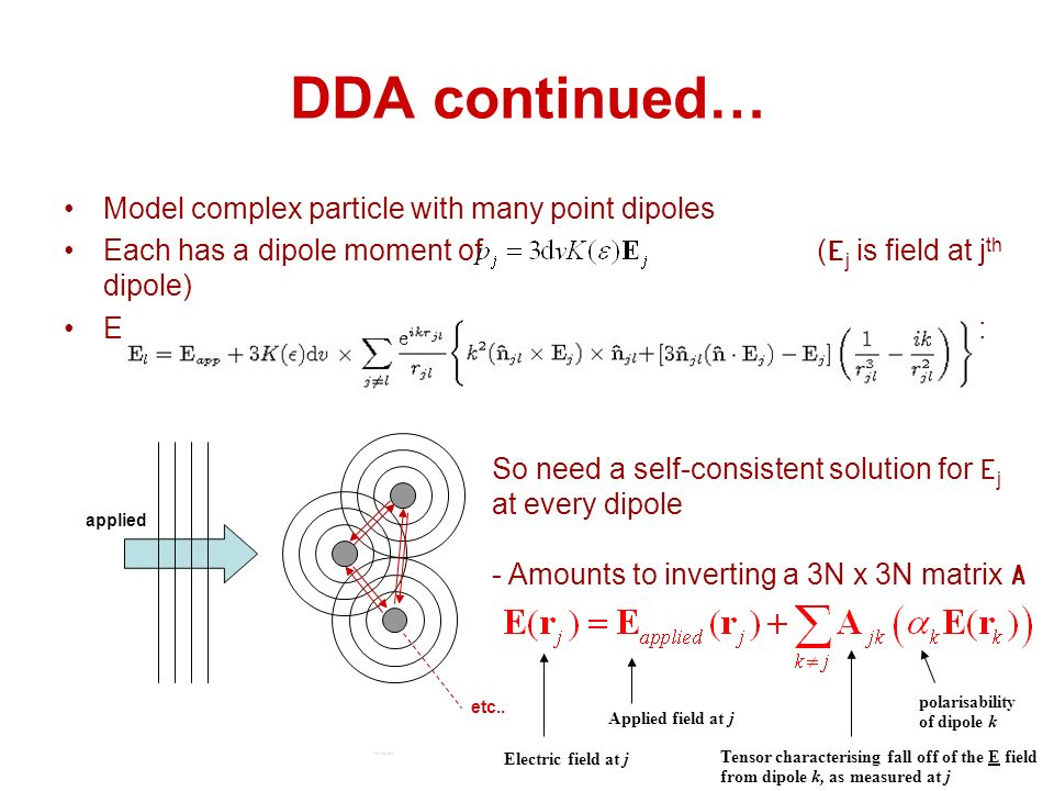 DDA continued… polarisability of dipole k Electric field at j Applied field at j Tensor characterising fall off of the E field from dipole k, as measured at j Model complex particle with many point dipoles Each has a dipole moment of (E j is field at j th dipole) Every dipole sees every other dipole, ie total field at the l th dipole is: applied etc..