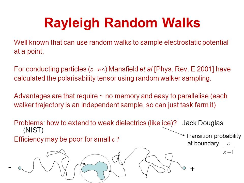 Rayleigh Random Walks Well known that can use random walks to sample electrostatic potential at a point.