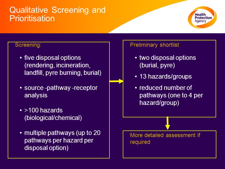 Qualitative Screening and Prioritisation Screening: five disposal options (rendering, incineration, landfill, pyre burning, burial) source -pathway -receptor analysis >100 hazards (biological/chemical) multiple pathways (up to 20 pathways per hazard per disposal option) Preliminary shortlist two disposal options (burial, pyre) 13 hazards/groups reduced number of pathways (one to 4 per hazard/group) More detailed assessment if required