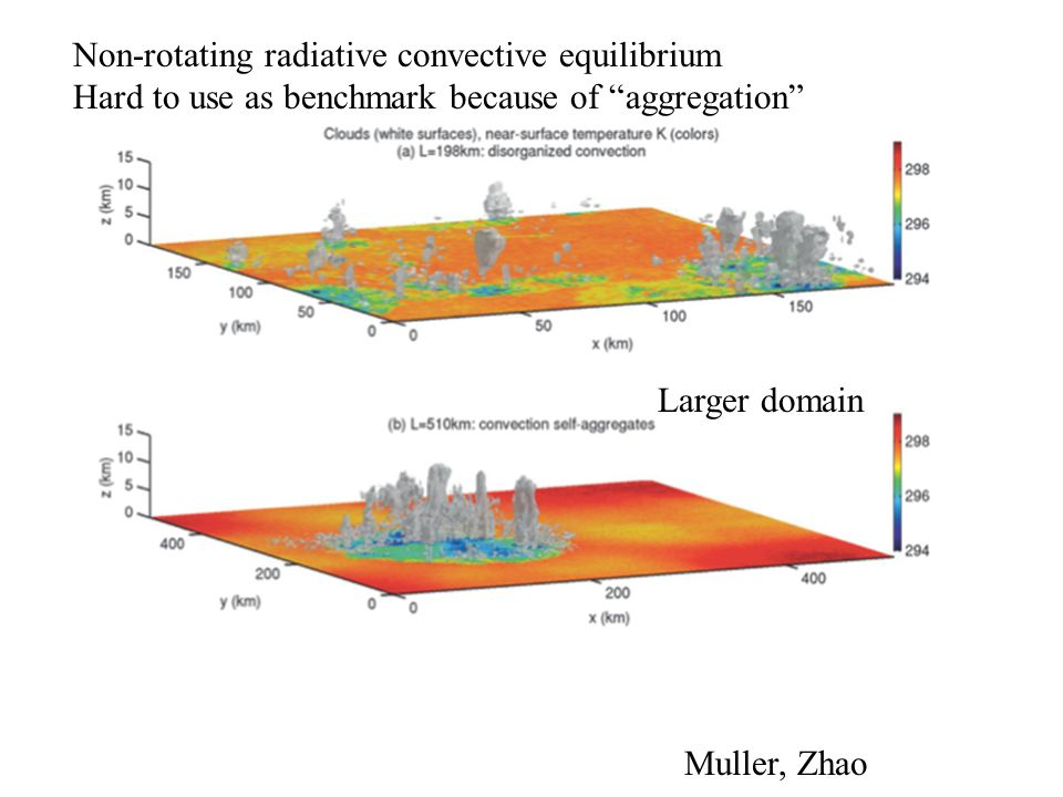 Non-rotating radiative convective equilibrium Hard to use as benchmark because of aggregation Larger domain Muller, Zhao