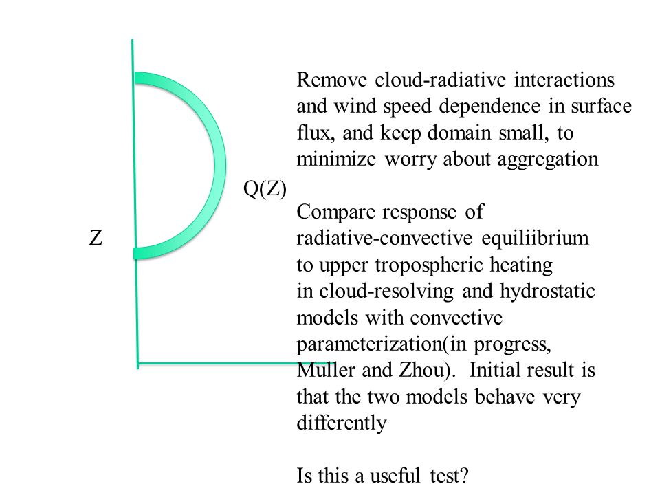 Z Q(Z) Remove cloud-radiative interactions and wind speed dependence in surface flux, and keep domain small, to minimize worry about aggregation Compare response of radiative-convective equiliibrium to upper tropospheric heating in cloud-resolving and hydrostatic models with convective parameterization(in progress, Muller and Zhou).