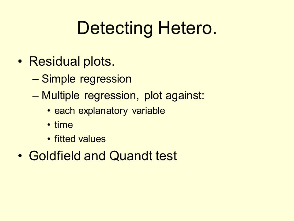 Detecting Hetero. Residual plots.