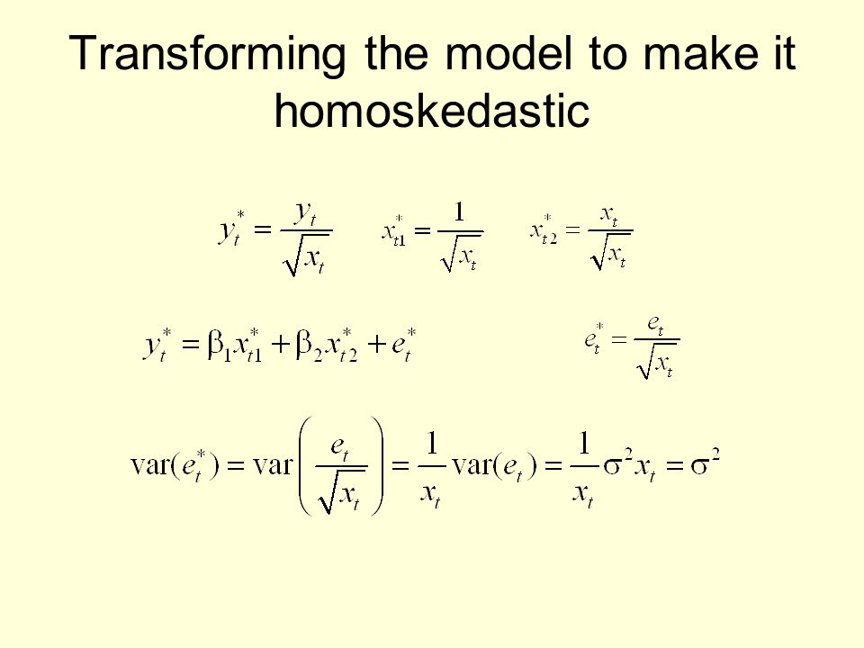 Transforming the model to make it homoskedastic