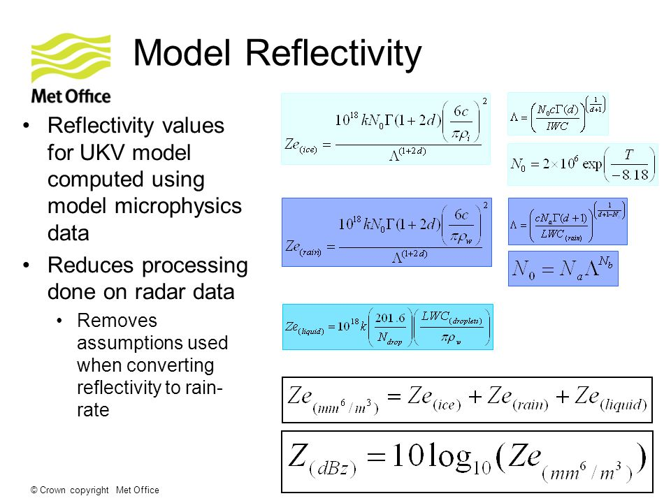 © Crown copyright Met Office Model Reflectivity Reflectivity values for UKV model computed using model microphysics data Reduces processing done on radar data Removes assumptions used when converting reflectivity to rain- rate