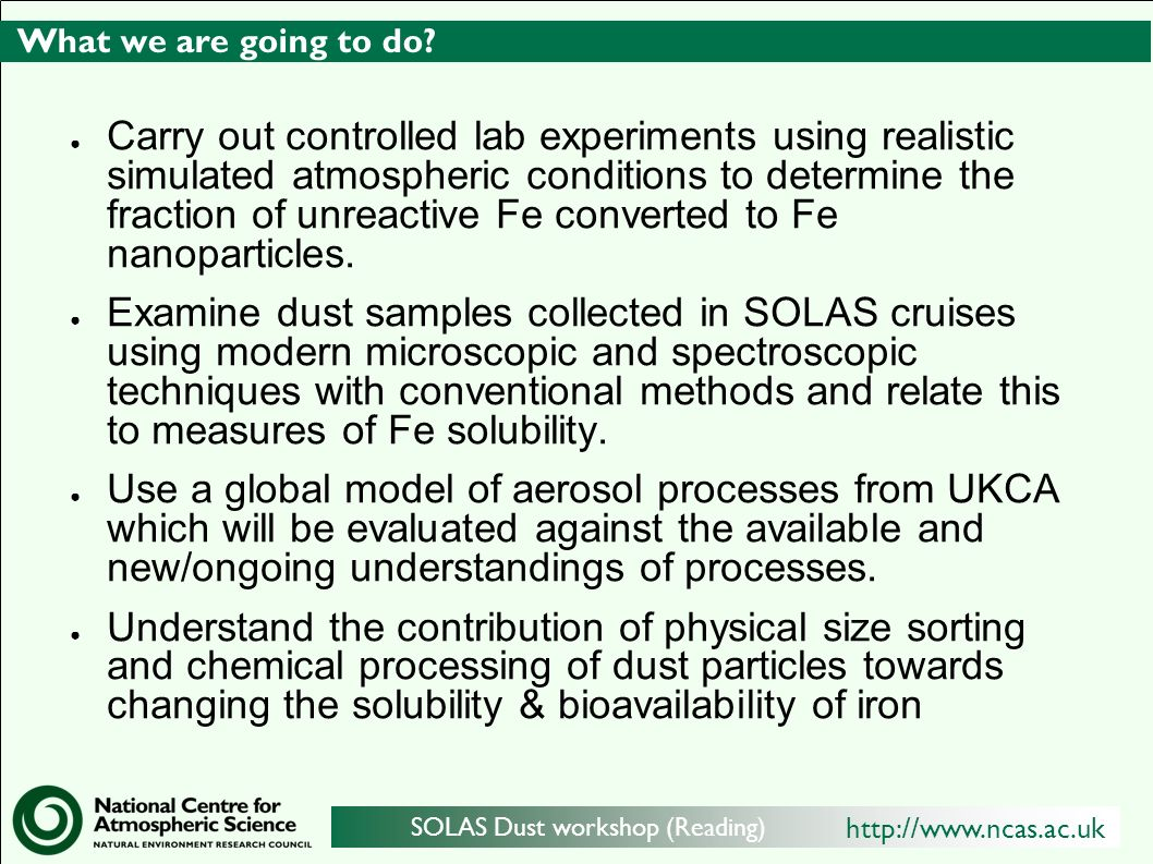 http://www.ncas.ac.uk SOLAS Dust workshop (Reading) What we are going to do.