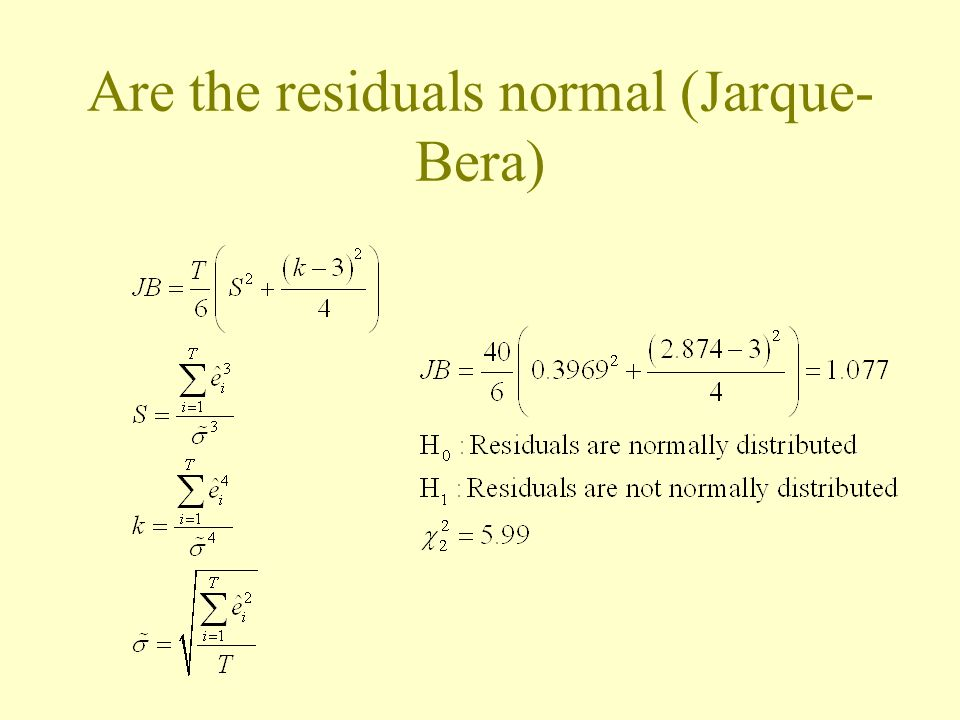 Are the residuals normal (Jarque- Bera)