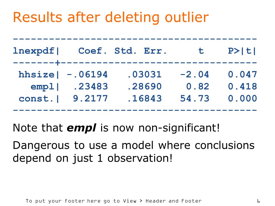 To put your footer here go to View > Header and Footer 6 Results after deleting outlier ----------------------------------------- lnexpdf| Coef.