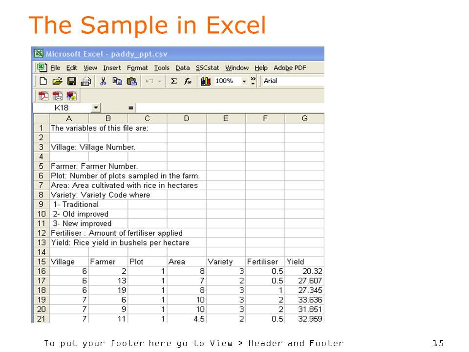 To put your footer here go to View > Header and Footer 15 The Sample in Excel