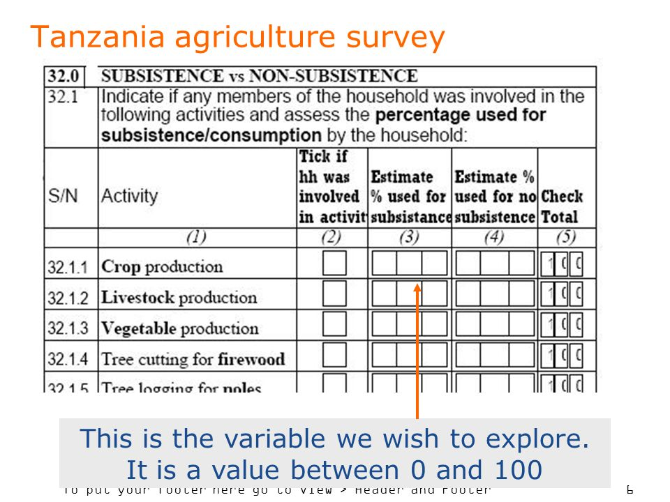To put your footer here go to View > Header and Footer 6 Tanzania agriculture survey This is the variable we wish to explore.