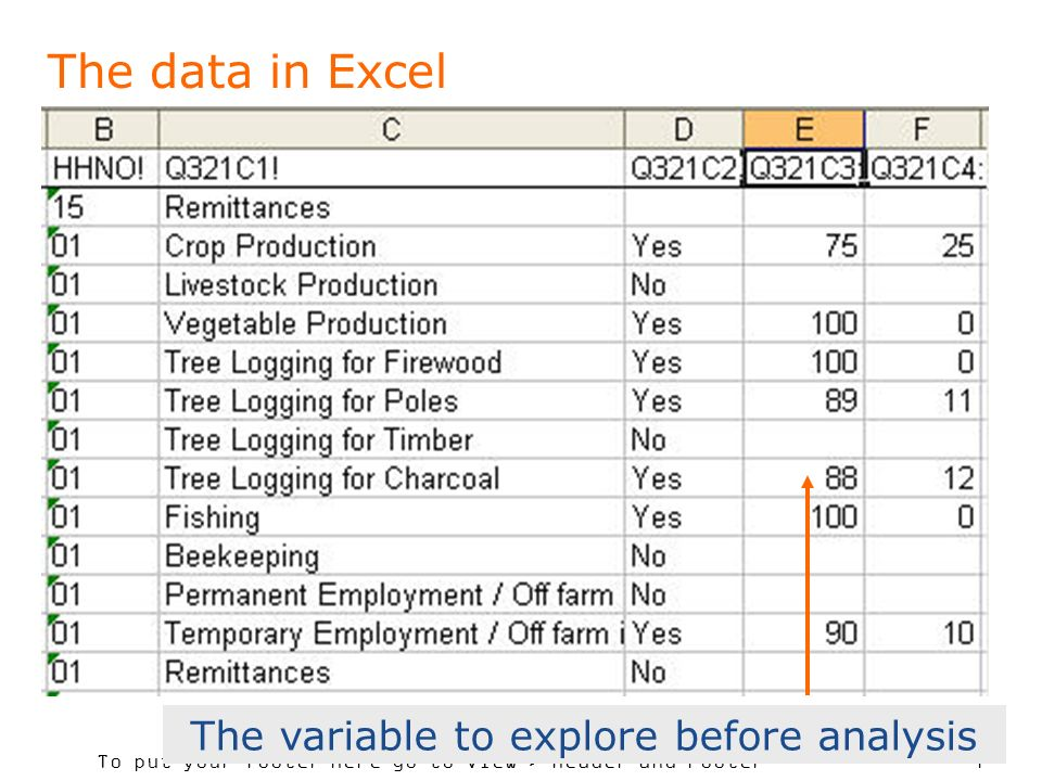 To put your footer here go to View > Header and Footer 7 The data in Excel The variable to explore before analysis
