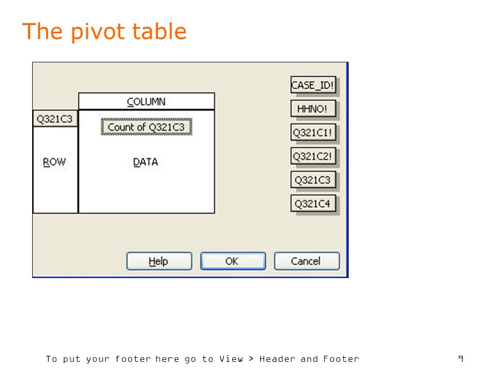 To put your footer here go to View > Header and Footer 9 The pivot table