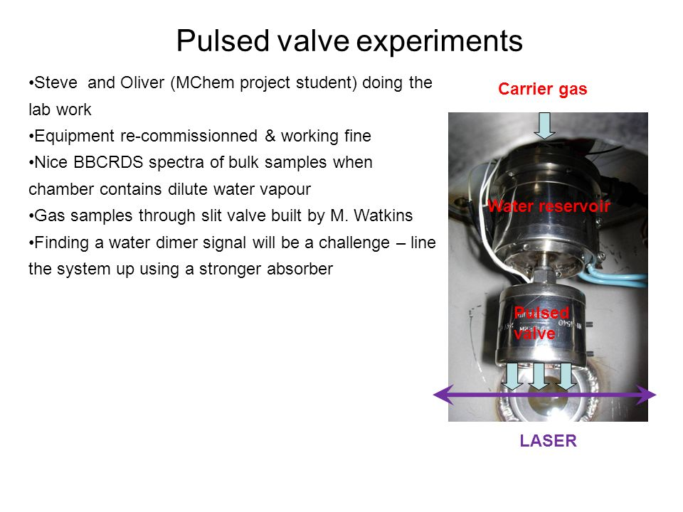 Pulsed valve experiments Steve and Oliver (MChem project student) doing the lab work Equipment re-commissionned & working fine Nice BBCRDS spectra of bulk samples when chamber contains dilute water vapour Gas samples through slit valve built by M.