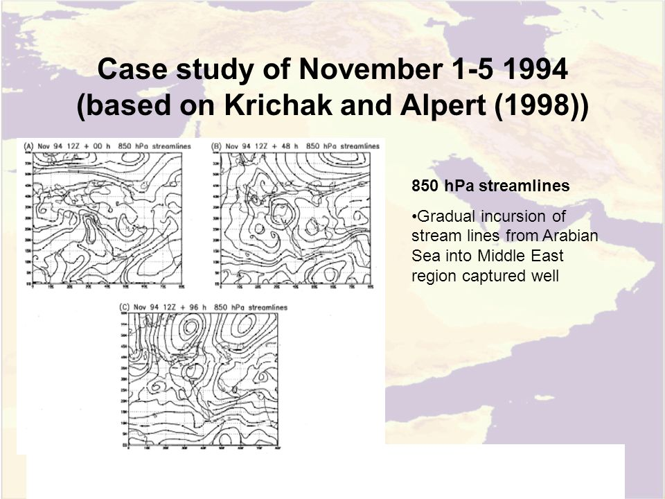 Case study of November 1-5 1994 (based on Krichak and Alpert (1998)) 850 hPa streamlines Gradual incursion of stream lines from Arabian Sea into Middle East region captured well