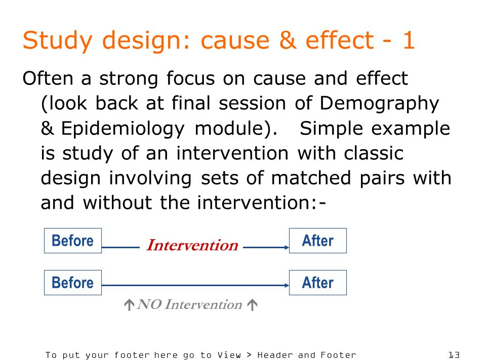 To put your footer here go to View > Header and Footer 13 Study design: cause & effect - 1 Often a strong focus on cause and effect (look back at final session of Demography & Epidemiology module).