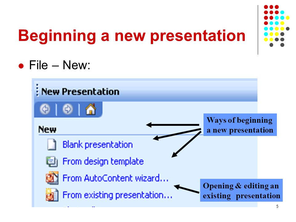 5 Beginning a new presentation File – New: Ways of beginning a new presentation Opening & editing an existing presentation