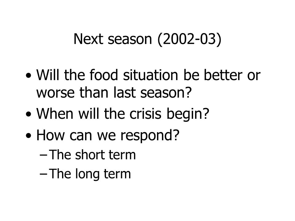 Next season (2002-03) Will the food situation be better or worse than last season.