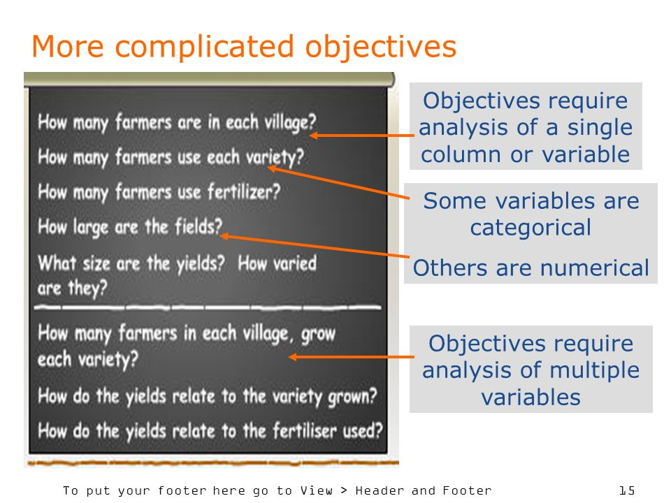 To put your footer here go to View > Header and Footer 15 More complicated objectives Objectives require analysis of a single column or variable Some variables are categorical Others are numerical Objectives require analysis of multiple variables