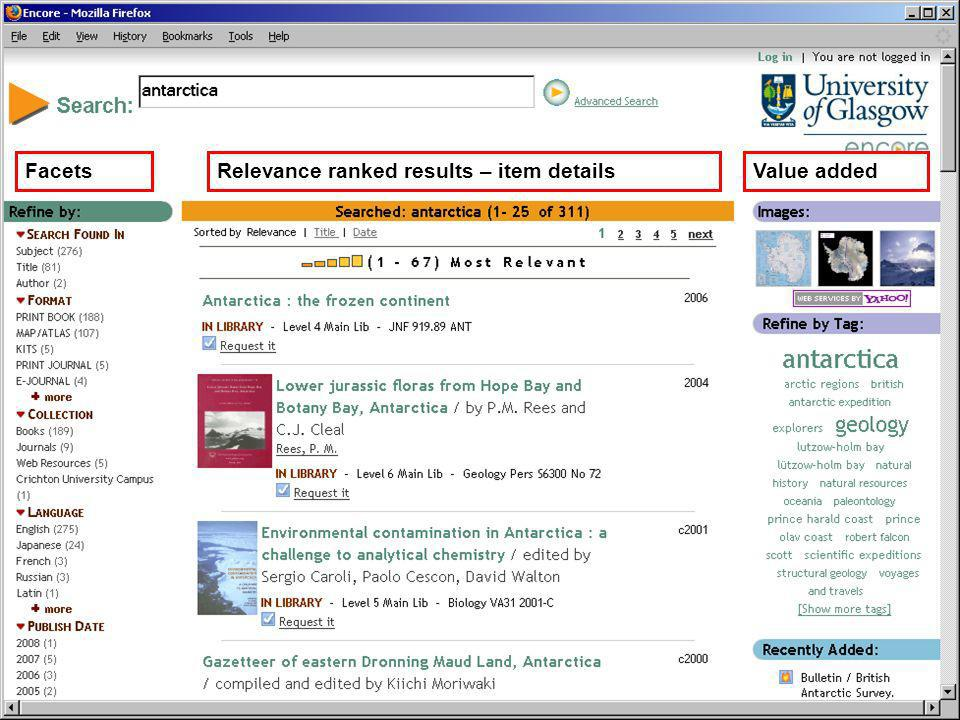 Relevance ranked results – item detailsFacetsValue added