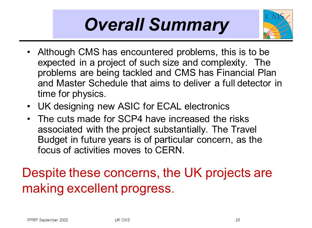 PPRP September 2002 UK CMS 25 Although CMS has encountered problems, this is to be expected in a project of such size and complexity.