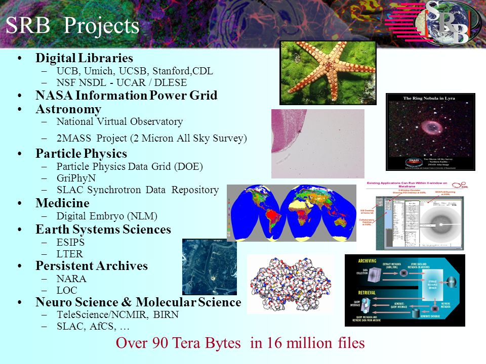 SRB Projects Digital Libraries –UCB, Umich, UCSB, Stanford,CDL –NSF NSDL - UCAR / DLESE NASA Information Power Grid Astronomy –National Virtual Observatory –2MASS Project (2 Micron All Sky Survey) Particle Physics –Particle Physics Data Grid (DOE) –GriPhyN –SLAC Synchrotron Data Repository Medicine –Digital Embryo (NLM) Earth Systems Sciences –ESIPS –LTER Persistent Archives –NARA –LOC Neuro Science & Molecular Science –TeleScience/NCMIR, BIRN –SLAC, AfCS, … Over 90 Tera Bytes in 16 million files