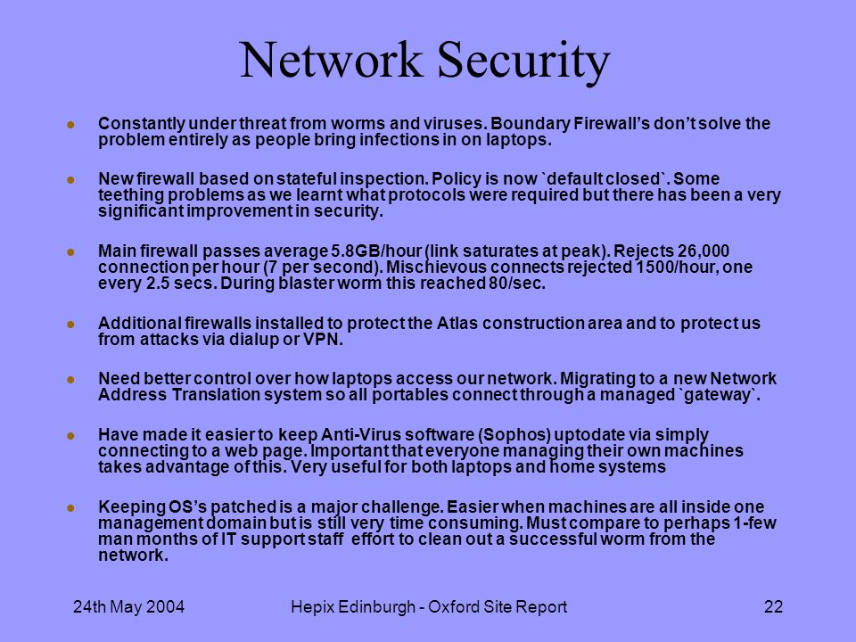 24th May 2004Hepix Edinburgh - Oxford Site Report22 Network Security l Constantly under threat from worms and viruses.