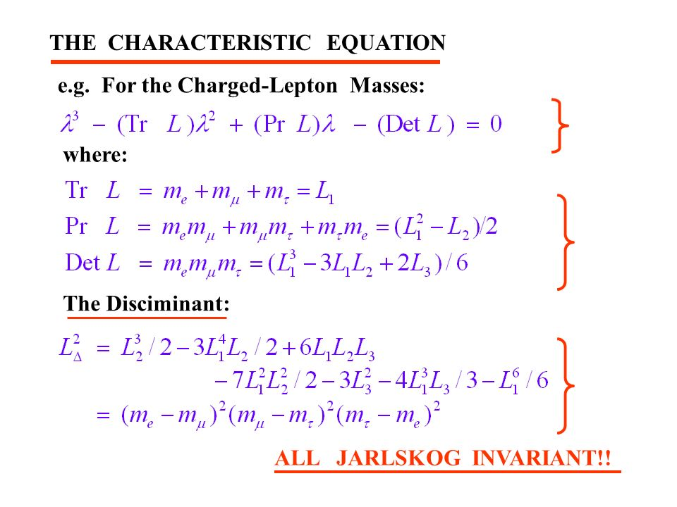THE CHARACTERISTIC EQUATION e.g.