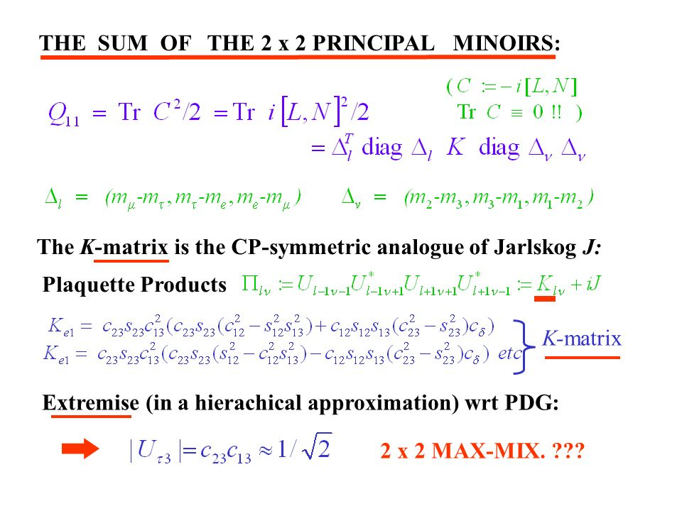 K-matrix THE SUM OF THE 2 x 2 PRINCIPAL MINOIRS: The K-matrix is the CP-symmetric analogue of Jarlskog J: Plaquette Products Extremise (in a hierachical approximation) wrt PDG: 2 x 2 MAX-MIX.