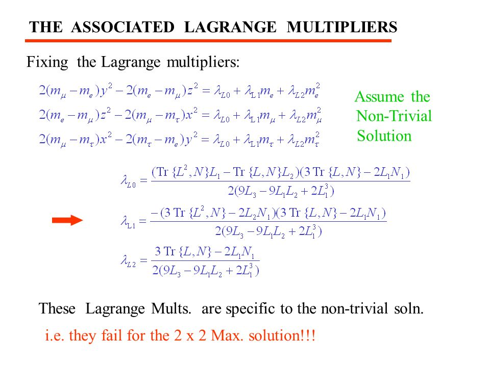 THE ASSOCIATED LAGRANGE MULTIPLIERS Fixing the Lagrange multipliers: These Lagrange Mults.