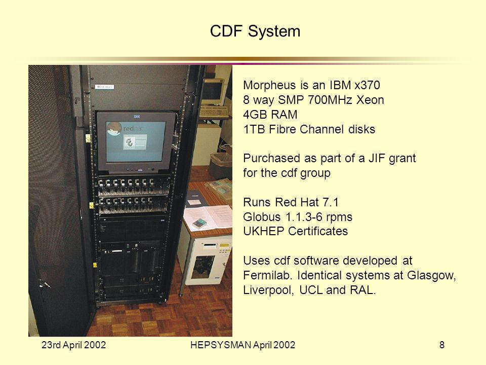 23rd April 2002HEPSYSMAN April 20028 CDF System Morpheus is an IBM x370 8 way SMP 700MHz Xeon 4GB RAM 1TB Fibre Channel disks Purchased as part of a JIF grant for the cdf group Runs Red Hat 7.1 Globus 1.1.3-6 rpms UKHEP Certificates Uses cdf software developed at Fermilab.