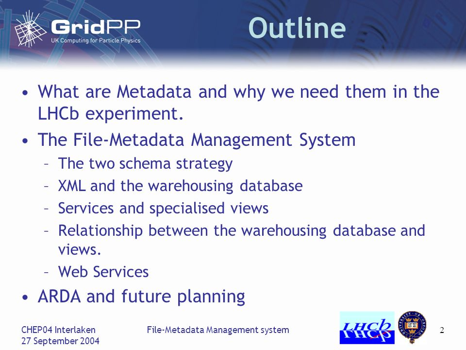 CHEP04 Interlaken 27 September 2004 File-Metadata Management system2 Outline What are Metadata and why we need them in the LHCb experiment.