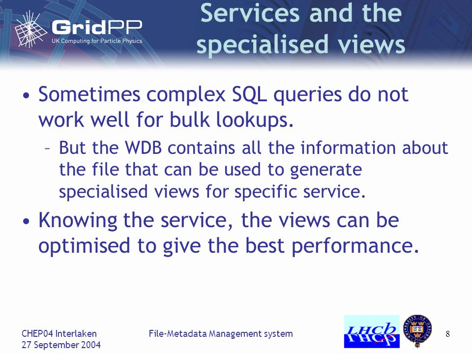 CHEP04 Interlaken 27 September 2004 File-Metadata Management system8 Services and the specialised views Sometimes complex SQL queries do not work well for bulk lookups.