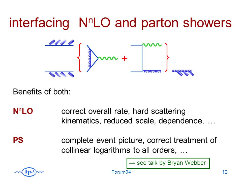 Forum0412 + interfacing N n LO and parton showers Benefits of both: N n LOcorrect overall rate, hard scattering kinematics, reduced scale, dependence, … PScomplete event picture, correct treatment of collinear logarithms to all orders, … see talk by Bryan Webber