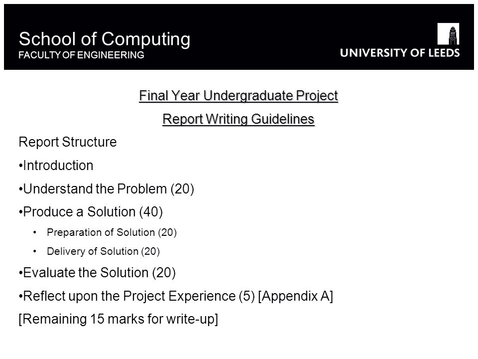 Final Year Undergraduate Project Report Writing Guidelines