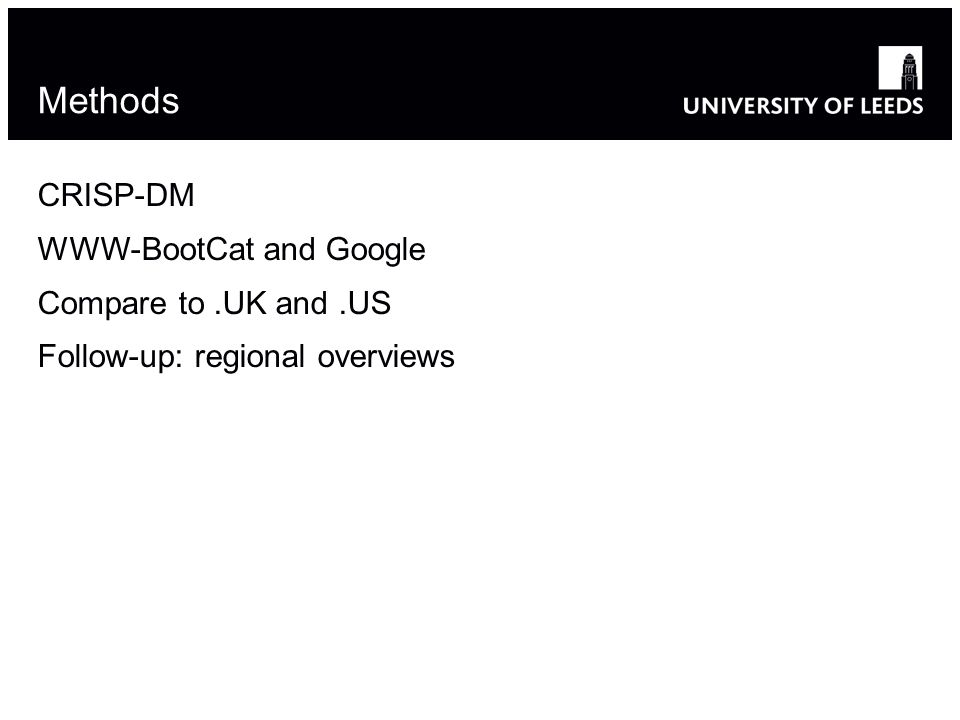 Methods CRISP-DM WWW-BootCat and Google Compare to.UK and.US Follow-up: regional overviews