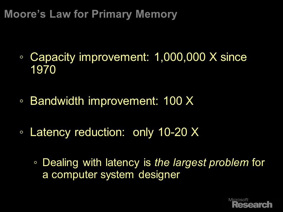 Moores Law for Primary Memory Capacity improvement: 1,000,000 X since 1970 Bandwidth improvement: 100 X Latency reduction: only 10-20 X Dealing with latency is the largest problem for a computer system designer