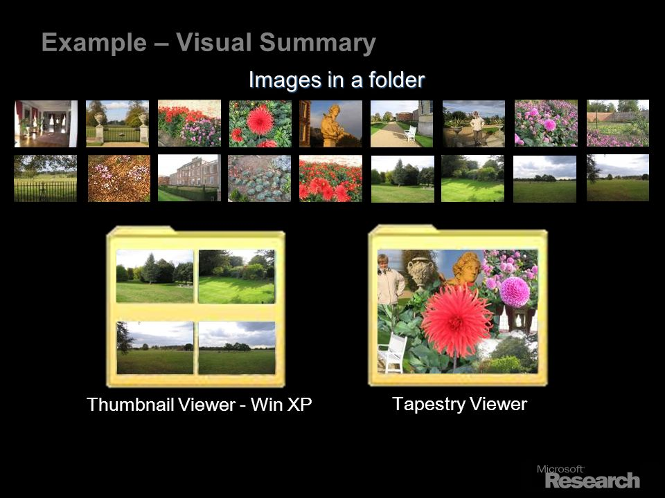 Example – Visual Summary Thumbnail Viewer - Win XP Tapestry Viewer Images in a folder