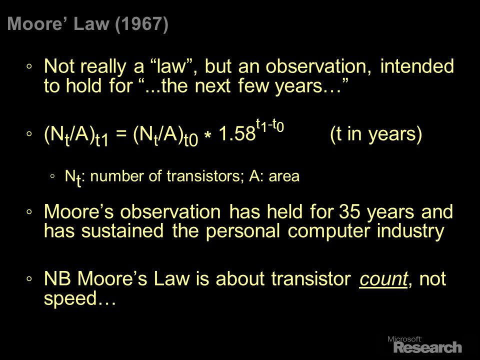 Moore Law (1967) Not really a law, but an observation, intended to hold for...the next few years… (N t /A) t1 = (N t /A) t0 * 1.58 t 1 -t 0 (t in years) N t : number of transistors; A: area Moores observation has held for 35 years and has sustained the personal computer industry NB Moores Law is about transistor count, not speed…