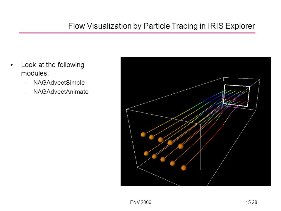 ENV 200615.28 Flow Visualization by Particle Tracing in IRIS Explorer Look at the following modules: –NAGAdvectSimple –NAGAdvectAnimate