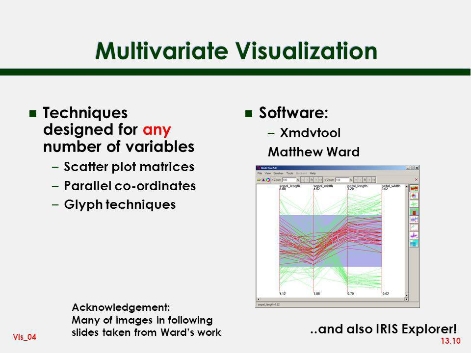 13.10 Vis_04 Multivariate Visualization n Software: – Xmdvtool Matthew Ward n Techniques designed for any number of variables – Scatter plot matrices – Parallel co-ordinates – Glyph techniques Acknowledgement: Many of images in following slides taken from Wards work..and also IRIS Explorer!