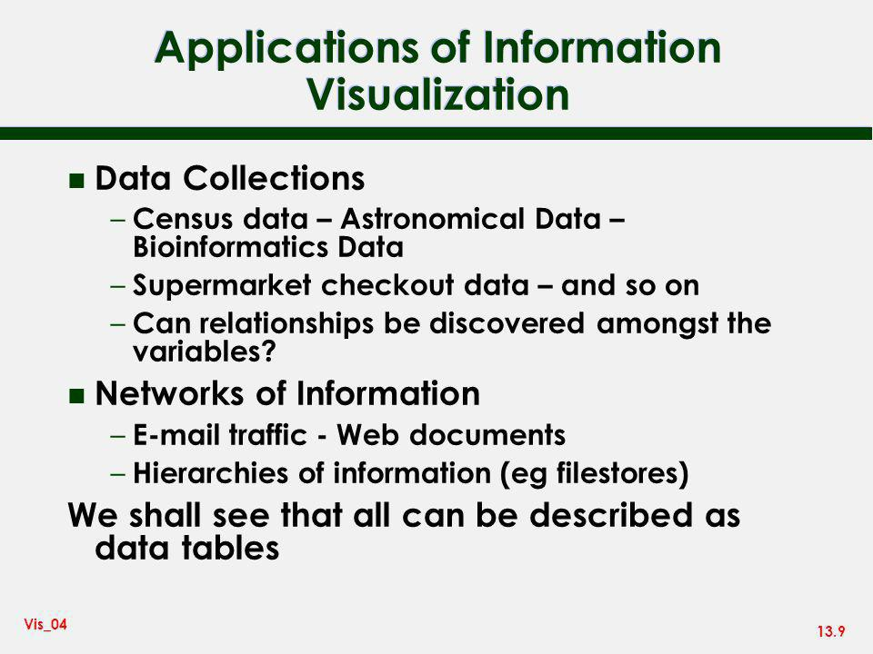 13.9 Vis_04 Applications of Information Visualization n Data Collections – Census data – Astronomical Data – Bioinformatics Data – Supermarket checkout data – and so on – Can relationships be discovered amongst the variables.