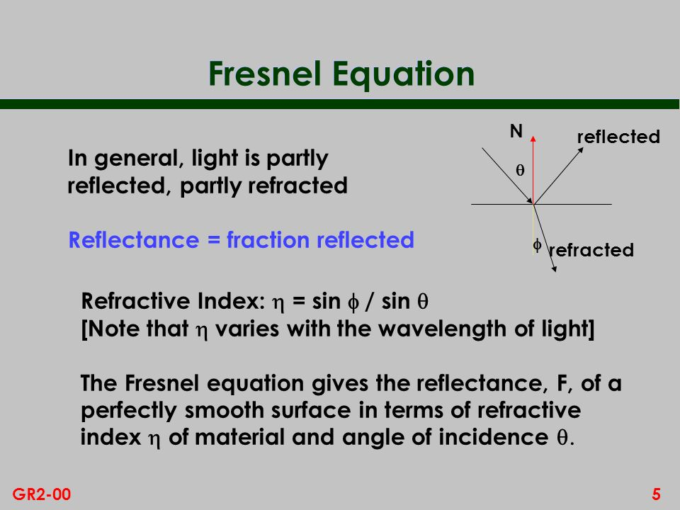 4GR2-00 Physically Based Model n Cook and Torrance have proposed an alternative model which has a basis in physics and which more accurately represents specular highlights n Diffuse reflection handled as in Phong model n Start by assuming perfectly smooth surface, ie mirror type surface