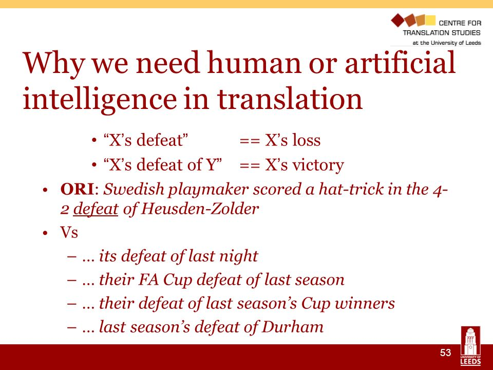 53 Why we need human or artificial intelligence in translation X s defeat == X s loss X s defeat of Y == X s victory ORI: Swedish playmaker scored a hat-trick in the 4- 2 defeat of Heusden-Zolder Vs –… its defeat of last night –… their FA Cup defeat of last season –… their defeat of last seasons Cup winners –… last seasons defeat of Durham