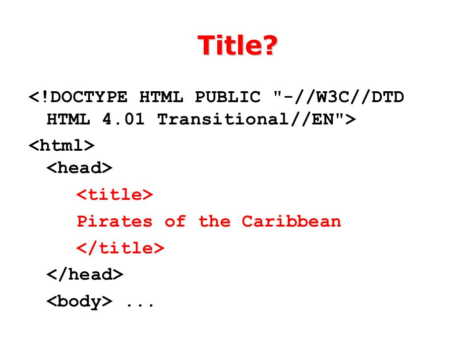 Title Pirates of the Caribbean...