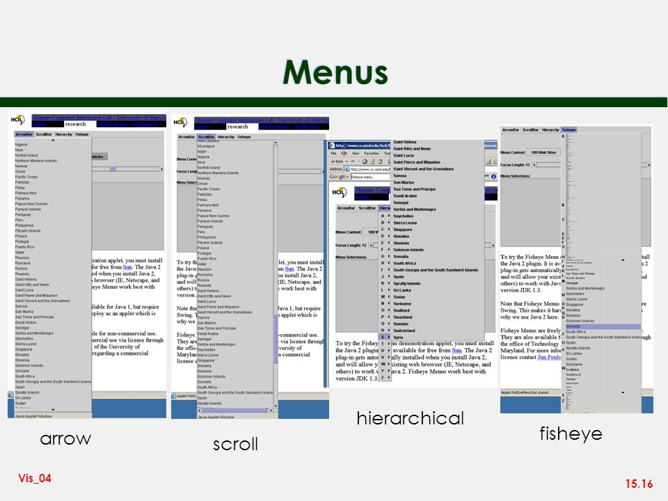 15.16 Vis_04 Menus arrow scroll hierarchical fisheye