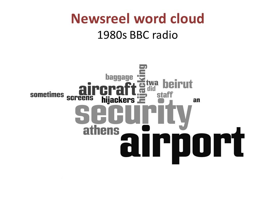 Newsreel word cloud 1980s BBC radio