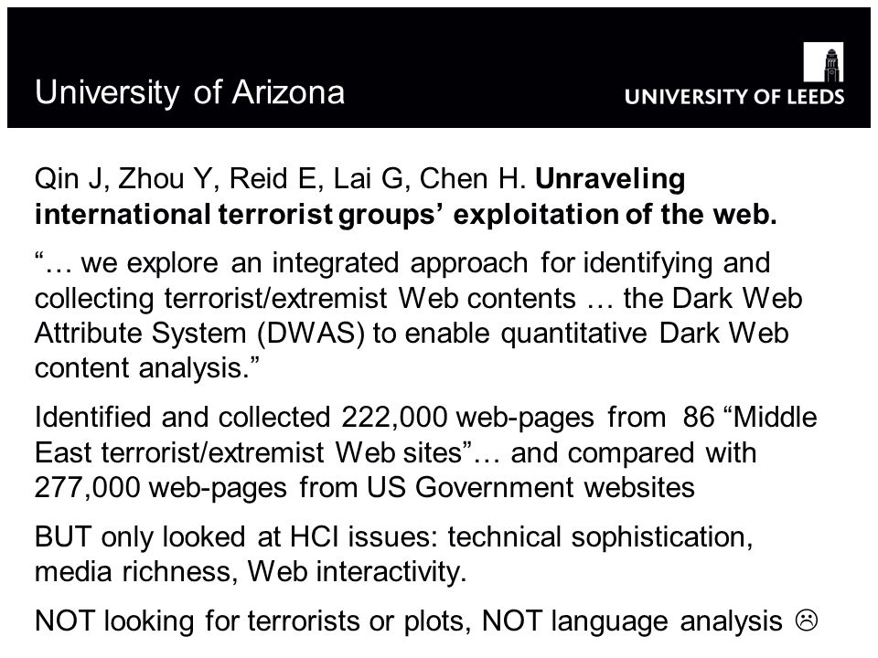 University of Arizona Qin J, Zhou Y, Reid E, Lai G, Chen H.