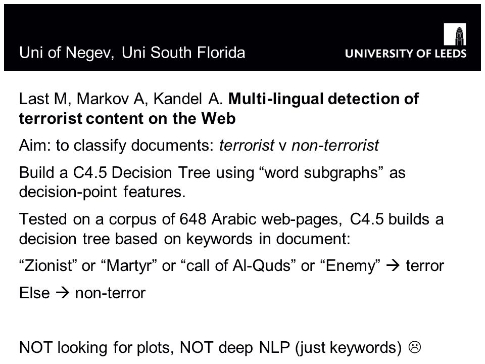 Uni of Negev, Uni South Florida Last M, Markov A, Kandel A.