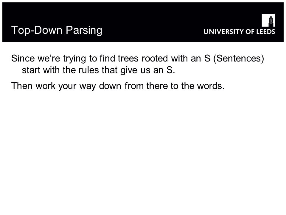 Top-Down Parsing Since were trying to find trees rooted with an S (Sentences) start with the rules that give us an S.